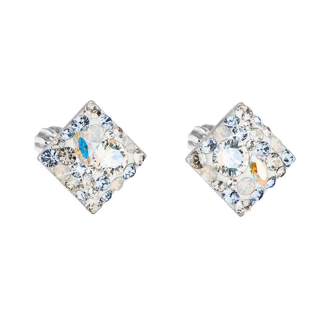 Sterling silver earrings with Swarovski crystals  blue rhombus  light sapphire 31169.3